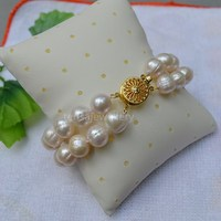 Free Shipping 2 Rows 8 Inches Cultured 7 8 Mm White Freshwater Pearl Bracelet