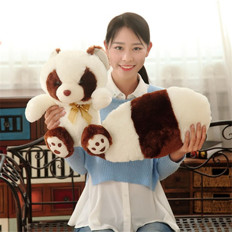 2 Colors High Quality Simulation Long Tail Raccoon Plush Toys Stuffed Animal Toy Soft Raccoons Bear Plush Dolls Kids Toys Gifts 1pc 16cm mini kawaii animal plush toy cute rabbit owl raccoon panda chicken dolls with foam partical kids gift wedding dolls