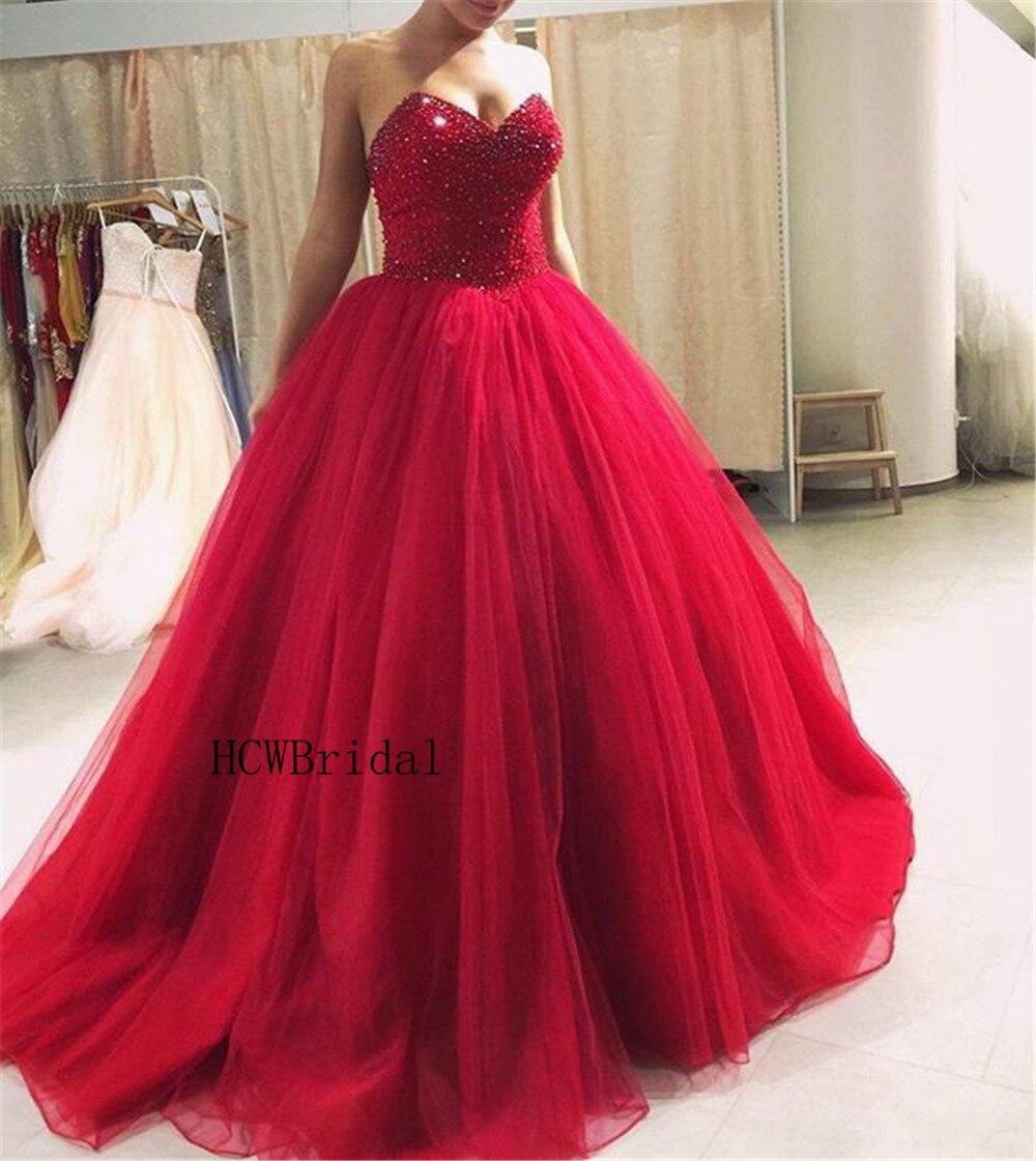 Vente chaude rouge perlée Tulle robe de bal Quinceanera robe 2019 chérie sans manches étage longueur longue Quinceanera robes pas cher