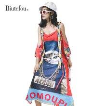 2019 Summer fashion hollow out sling dresses women cartoon print bandage Dresses