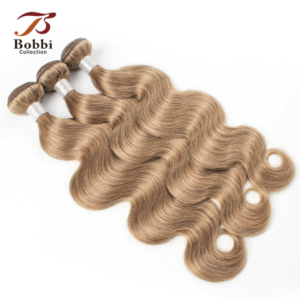 Image 4 - Bobbi Collection 2/3/4 Bundles Color 27 Honey Blonde Indian Body Wave Hair Weave Bundles Colored Remy Human Hair Weft 16 24 inch-in Hair Weaves from Hair Extensions & Wigs