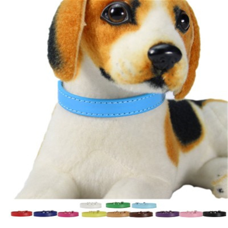 (1 piece  lot ) Plain Small Dog Collar Pu Leather Collar for a cat Puppy XS S