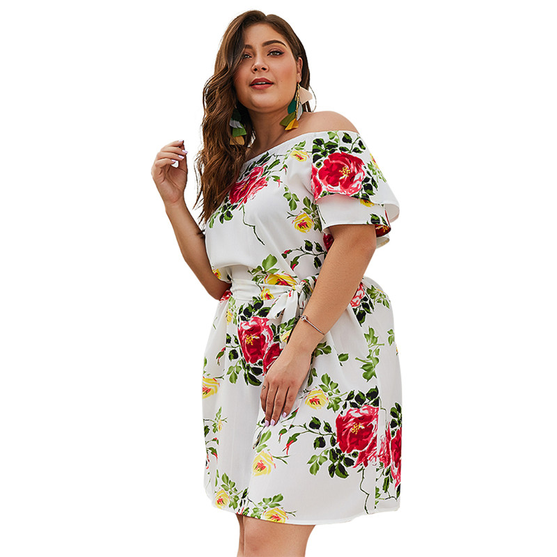 Women's Clothing Lower Price with Plus Size Sexy Off Shoulder Dresses Summer Floral Print Elegant Party Short Sleeve Loose Dress Holiday Beach Dress Vestidos Discounts Price