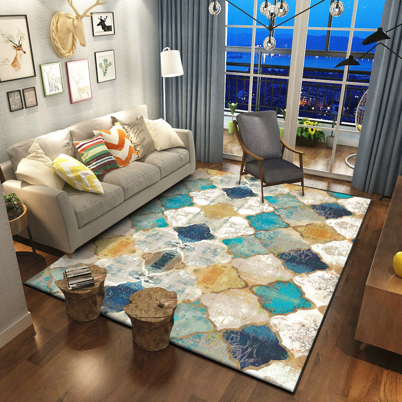 Retro American Geometry Moroccan Ethnic Style Anti-Skid Carpet Bedroom Door Living Room Mat Carpets Absorbent Area Rugs