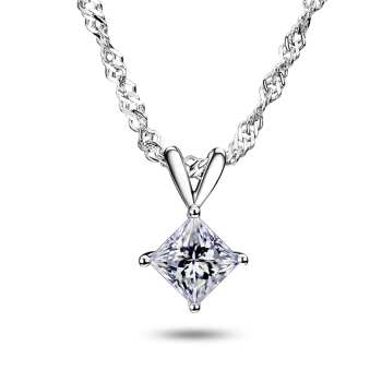 Fashion Slide Wedding Water Wave Chain Pendant 18K White Gold 1 Carat Square Shape Moissanite Diamond Necklace Gifts for Women 1
