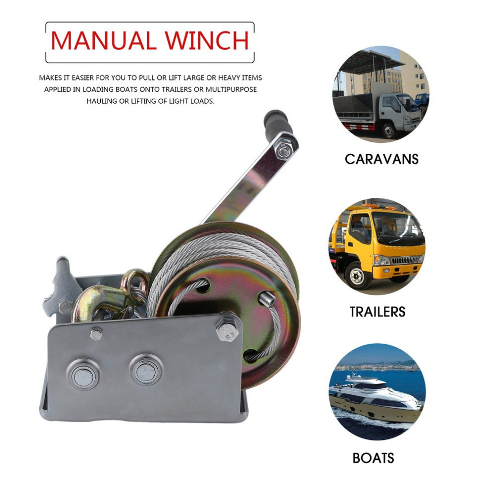 Newest Manual Hand Winch 2500lbs Boat Trailer For Caravans 20m Cable Length  Marine Pull Heavy Items