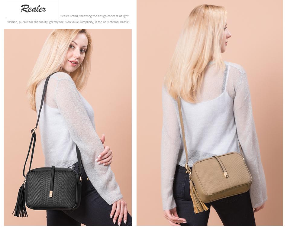 REALER brand small shoulder bag for women messenger bags ladies PU leather handbag purse tassels female crossbody bag women 2019 3