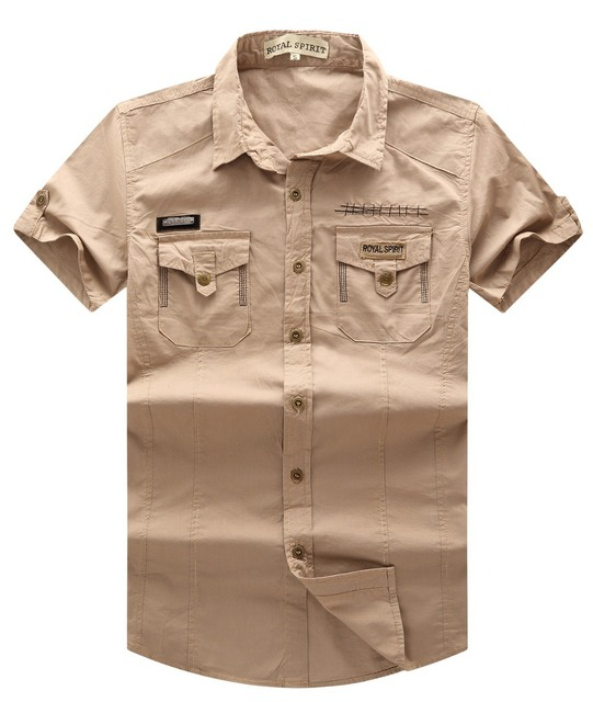 Novo Single Breasted Bolsos de Carga Militar Do Exército de Manga Curta Camisa Dos Homens Camisas Casuais Masculino #15050177
