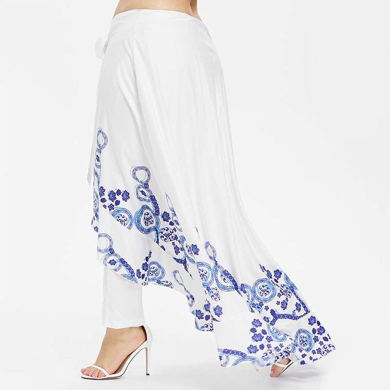 b0690cb124 Aliexpress.com : Buy PlusMiss Plus Size 5XL 4XL Summer Skirted Pant Women  White Print Loose Palazzo Capri Pants Chiffon Bohemian Boho Beach Trousers  from ...