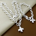 New Arrival Silver Fashion Jewelry Sets,High Quality Silver Plated Charm Cross Necklace Bracelet Sets E259