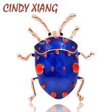 CINDY XIANG Enamel Beetle Brooches for Women Cute Fashion Bug Brooch Pin Blue Color New Arrival 2018 High Quality Jewelry Gift