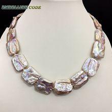 Новинка, жемчужное ожерелье, большой размер, кеши, неправильный прямоугольник, квадратный персиковый жемчуг, натуральный пресноводный культивированный жемчуг, специальное ювелирное изделие