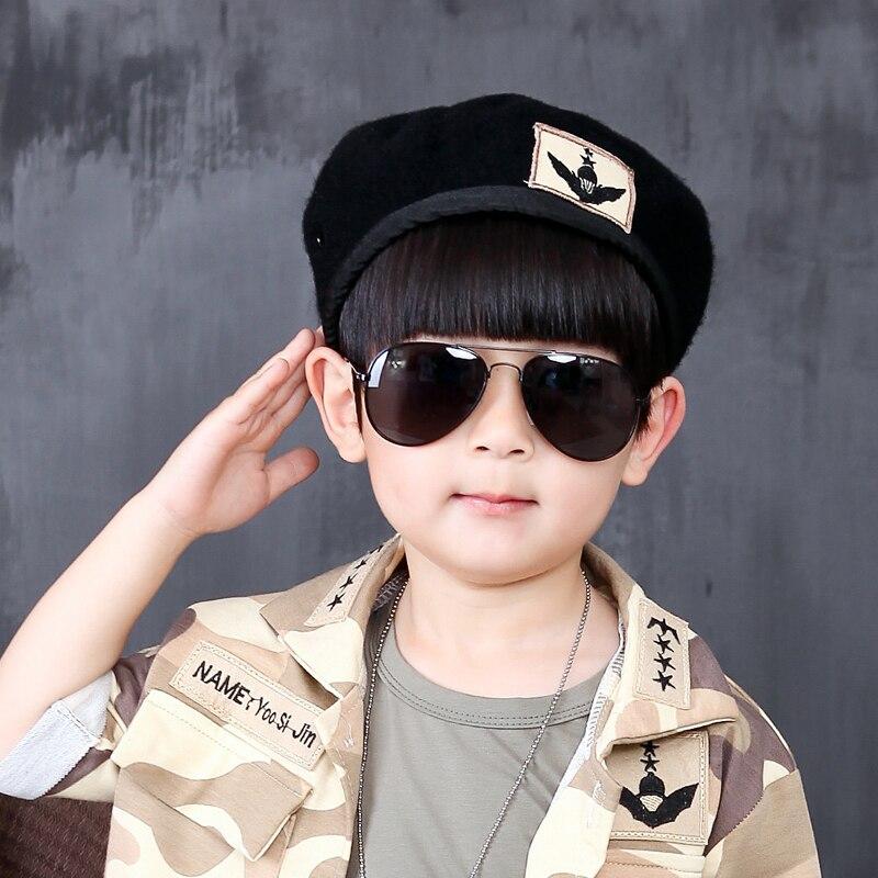 WENDYWU Simple Style Lablel Solide Noir Bébé Chapeau Bébé Chapeau Enfant  béret Chapeau Pour Fille Cap Pour Garçon Chapeau Enfant Chapeau De Béret a88d1bf90c4