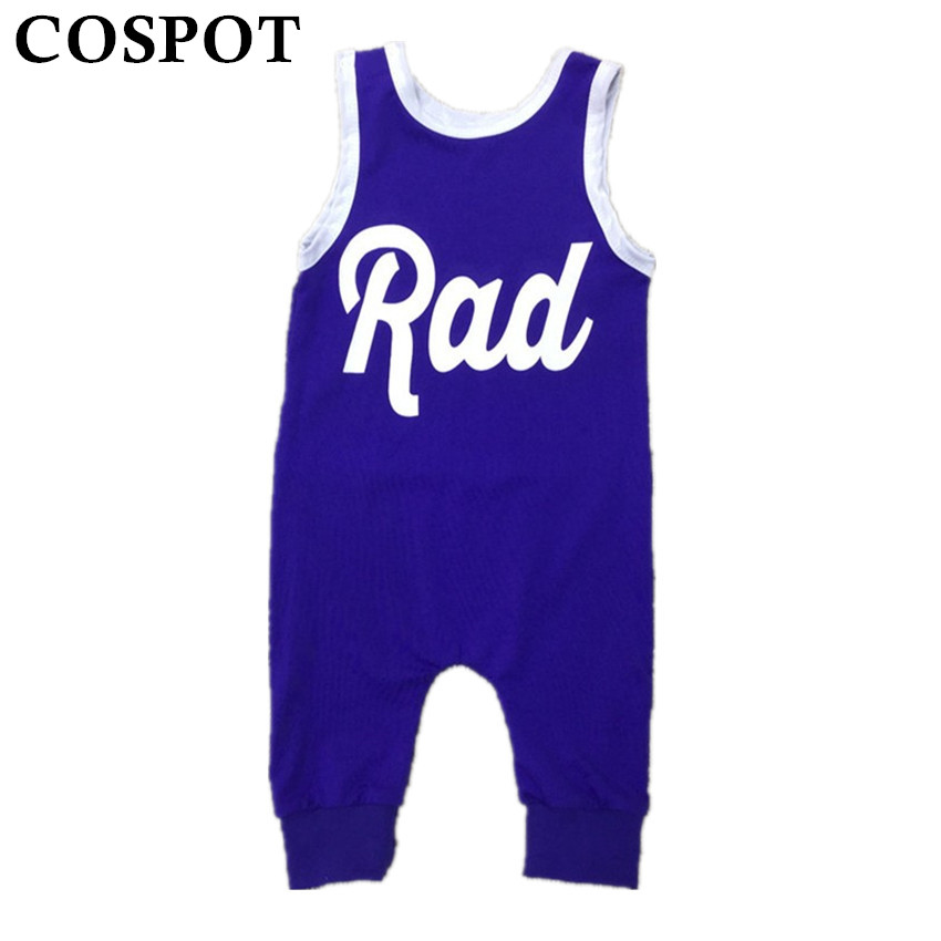 цены  Baby Summer Harem Romper Boys Girls Plain Blue Tank Jumpsuit Kids Fashion Cotton Playsuit Newborn Clothing 0-5Yrs 35D