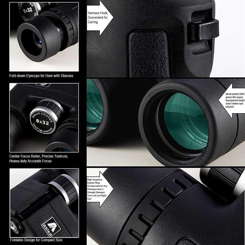 Asika 8x32 Kompakt Dürbün Kuş Gözlemciliği için HD Askeri Teleskop Avcılık ve Seyahat için kayış ile Yüksek Net görüş Siyah