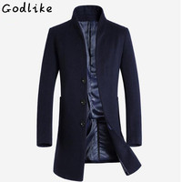 GODLIKE 2018 autumn and winter new fashion business casual Slim collar wool coat/Men's long cotton collar collar trench coat