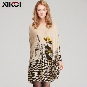 Image 2 - XIKOI Free Size Autumn Women Long Sweaters Slash Neck Batwing Sleeve New Printed Pullovers Female Loose Casual Knitted Sweaters