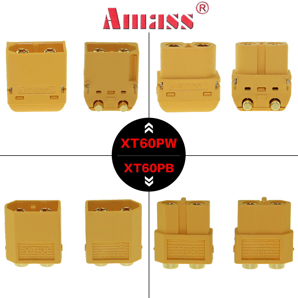 Amass 5 Pairs XT60PB XT60PW XT60 Connector Plug Upgraded Female & Male Heat Shrink Gold Plated For RC Parts