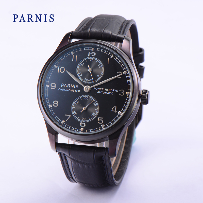 2016 Hot Sale 43mm Parnis Watch Man Power Reserve Automatic Movement Watches Black Dial PVD Case Men's Wristwatch