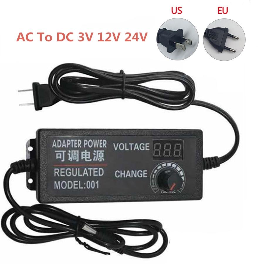 Adaptador de corriente ajustable CA a CC 3 V 9 V 12 V 24 V fuente de alimentación Universal Pantalla de alimentación 3 9 12 24 v voltios cargador de conmutación Adatper