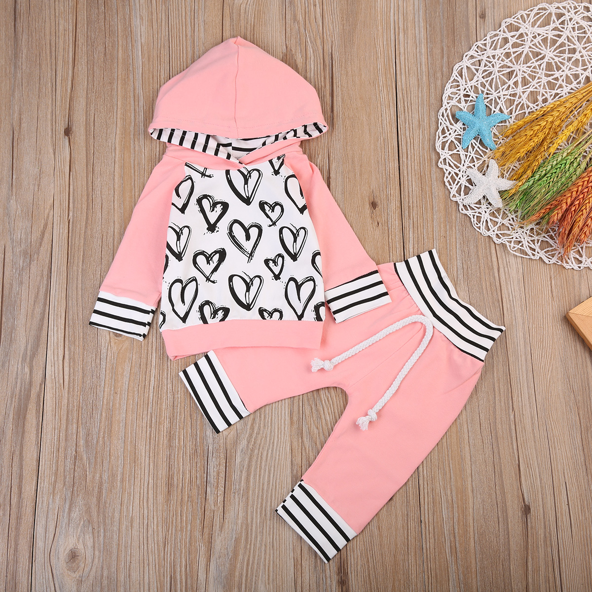 2Pcs Newborn Kids Baby Girl Clothes Long Sleeve Hooded Heart Hoodies Striped Casual Pants Outfit Set Spring Autumn New