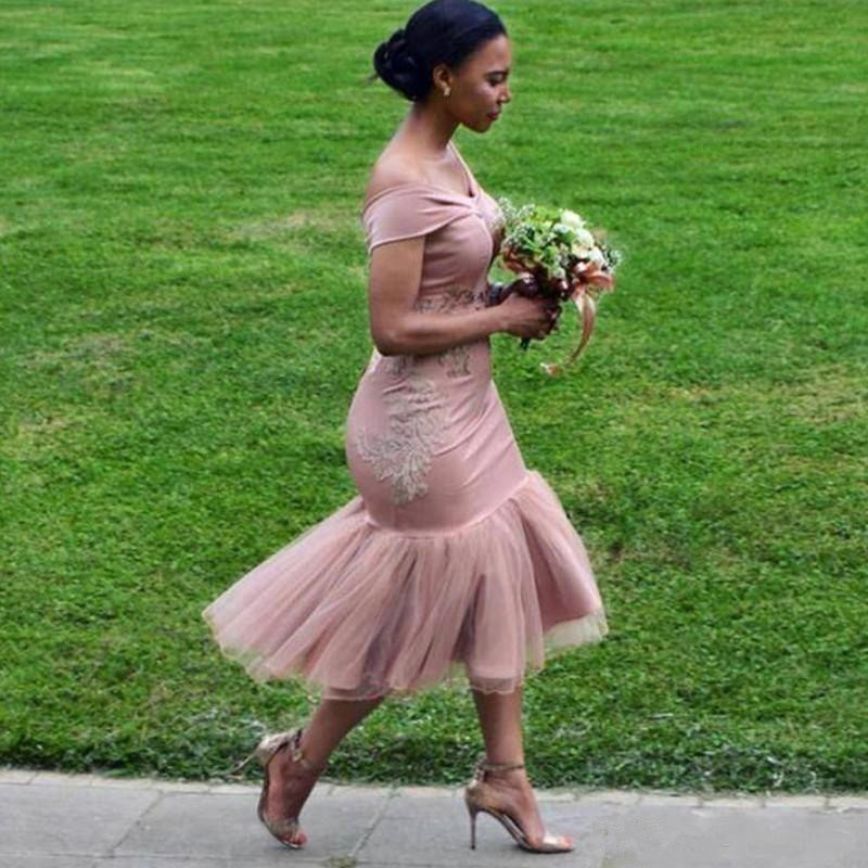 South African 2019 Bridesmaid Dresses For Women Mermaid Off The Shoulder Tulle Lace Short Cheap Under 50 Wedding Party Dresses