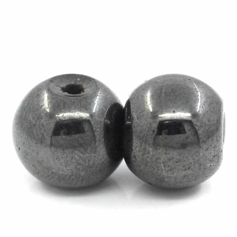 Doreen Box 30 PCs Magnetic Bulat Dibuat Bijih Besi Longgar Spacer Beads untuk Membuat KERAJINAN Perhiasan Gelang Buatan Tangan Manik-manik 8mm dia.