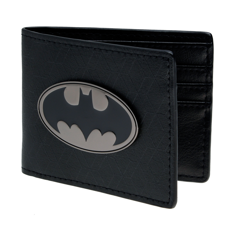 Mens Batman Logo Badge Bifold Wallet   DFT-1327 playstation console shaped bifold pu wallet playstation dft 1250a