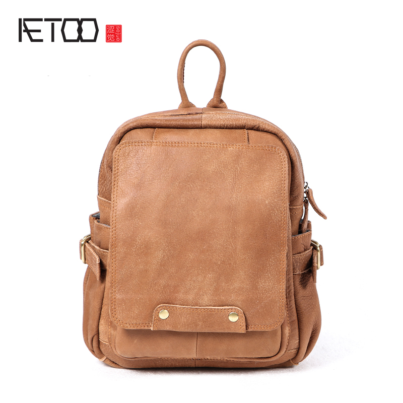 AETOO New college wind original handmade lady female female leather backpack head layer cowhide shoulder bag frosted A4 bag art aetoo leather shoulder bag head layer cowhide backpack retro art college wind bag leisure travel