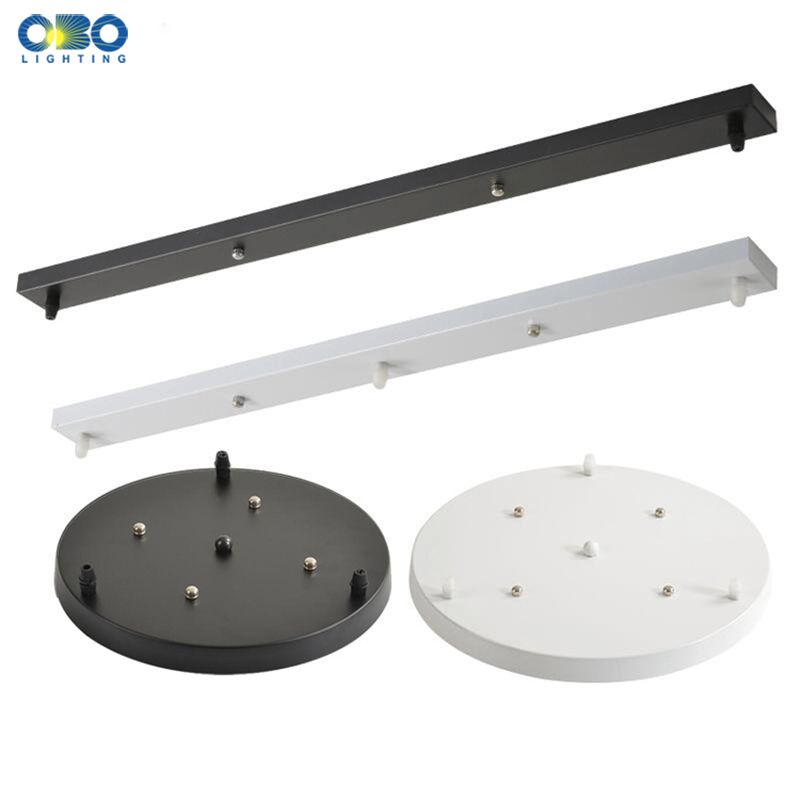 Ceiling Plate Black/White Iron Pendant Lamp Bases DIY 2/3/4/5 Holes 25cm/30cm/40cm/50cm Straight/Round Ceiling Base