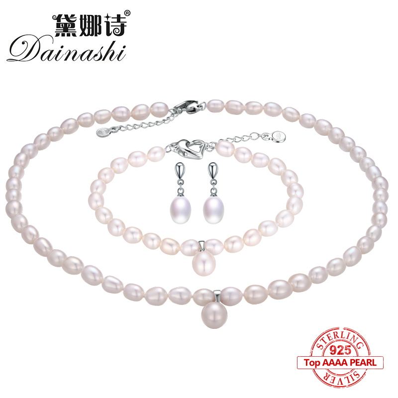 Dainashi 2017 925 sterling silver natural freshwater pearl fine jewelry for women long earrings and necklace and bracelet sets a suit of stunning faux pearl rhinestoned necklace and earrings for women