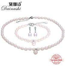 6adc3eb9f4f Dainashi 2017 925 sterling silver natural pérola de água doce jóias finas  para as mulheres longos brincos e colar e pulseira con.