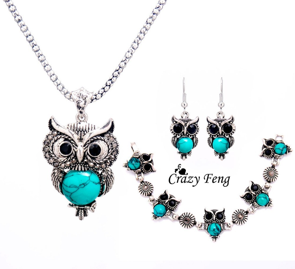 Crazy Feng Women Retro Tibetan Silver Stone Crystal Pendant Necklace Bracelet Earrings Sets Jewelry Free Shipping In From