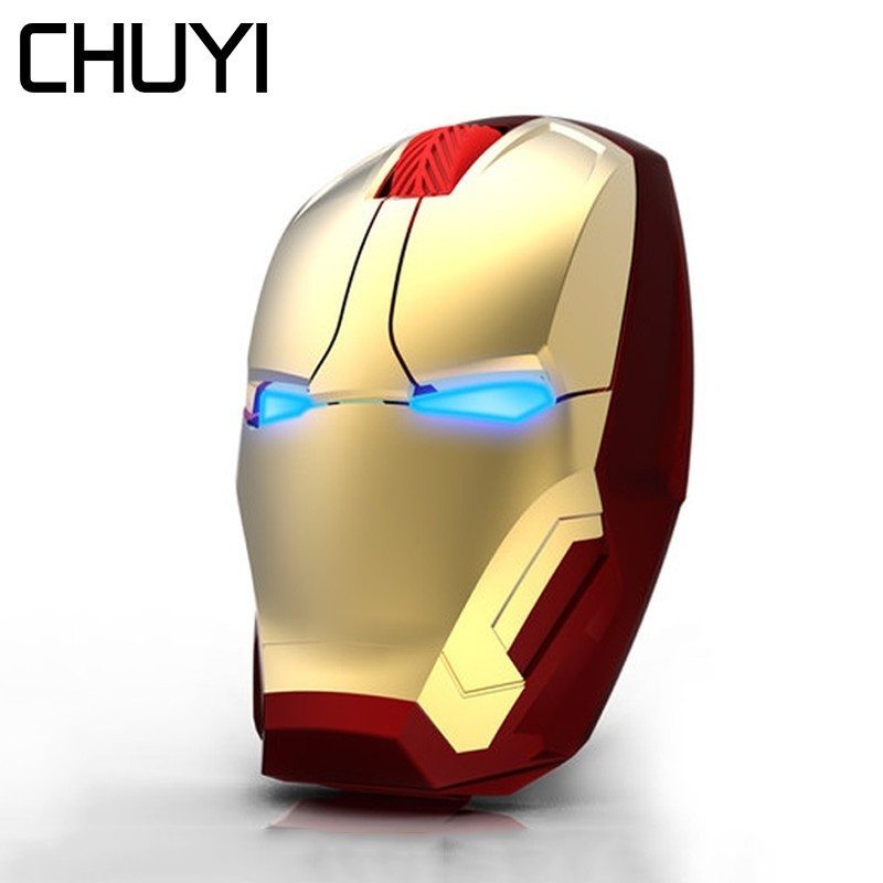 CHUYI Wireless Mouse Avengers 3 Iron Man Design Mause Ergonomic 2.4G 2400DPI Computer PC Mice With Wrist Rest Mouse Pad Kit