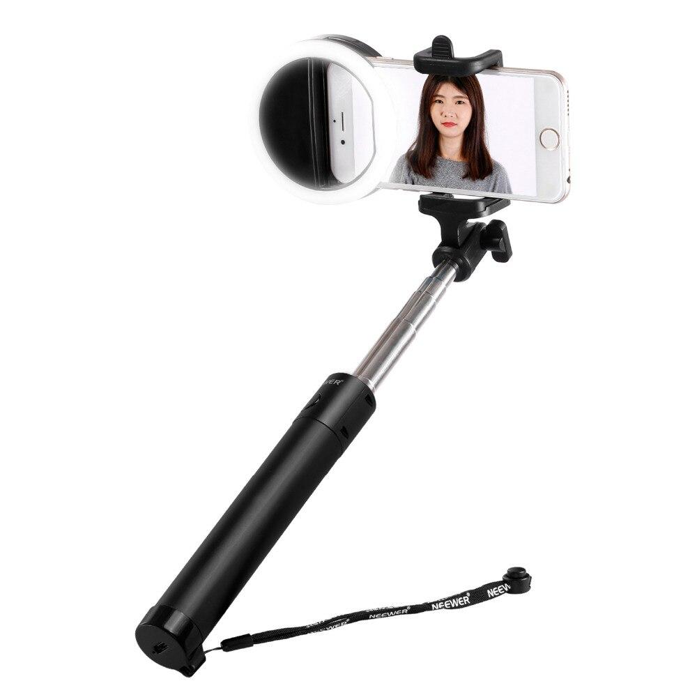 Neewer Mini LED Ring Light Selfie Kit:36 LED Clip-on Selfie Cellphone Ring Light+18-80cm U-Shape Self-portrait Stick Selfie