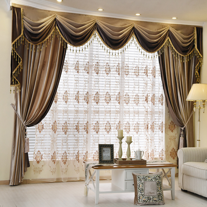 High Quality Luxury European Style Thickening Shading Pure Color Italy Velvet Head  Curtains For Living Room Modern Window Valance For Bedroom