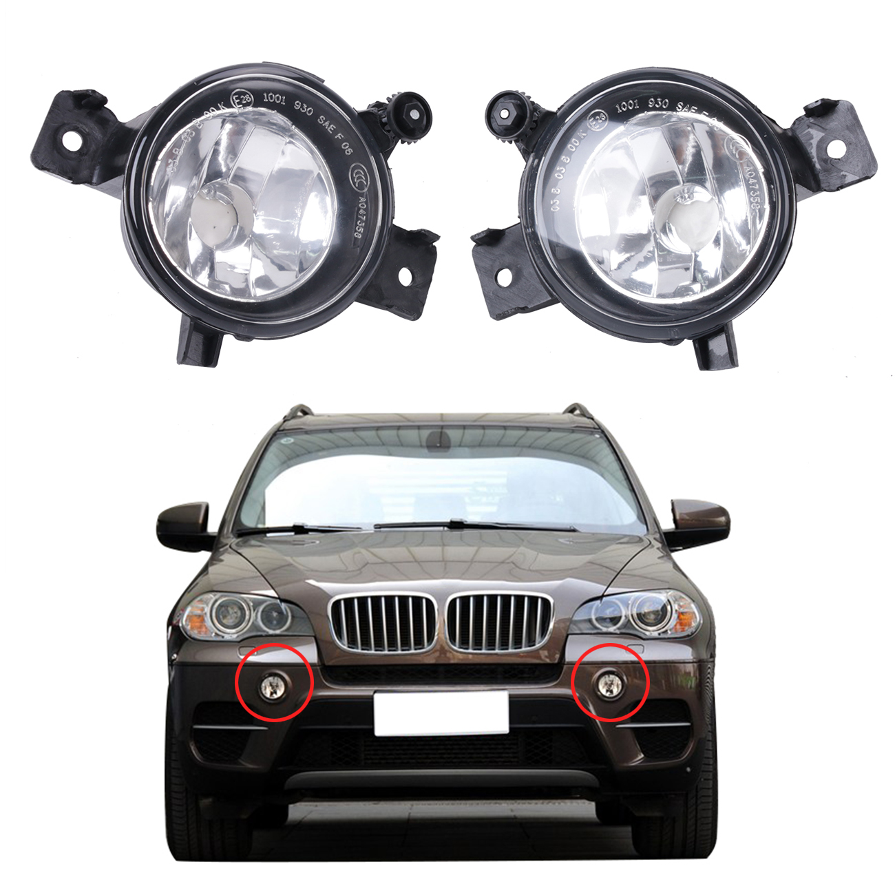 Left / Right Front Bumper Fog Light Clear Driving Lamps Foglamp Housing For BMW E70 X5 2011 2012 2013 Car Lighting #W086 2 pcs set car styling front bumper light fog lamps for toyota venza 2009 10 11 12 13 14 81210 06052 left right