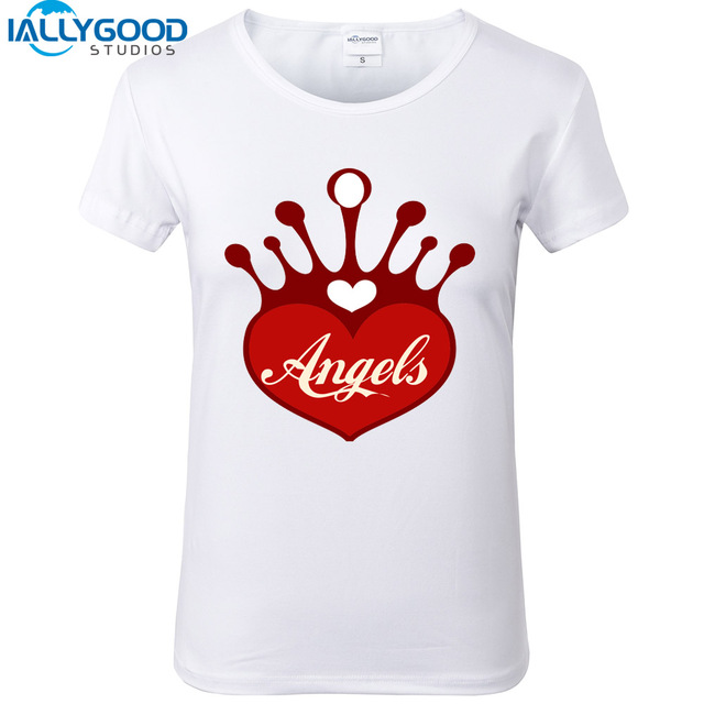 2017 New Fashion Design Women Heart Shaped T Shirts Cool Crown Angels  Letter Print Tops