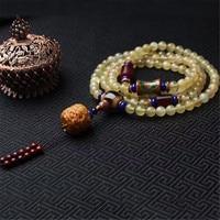 Handmade Real 108 8mm Horn Beads Bracelet Women Healing Bracelets 4 Circles Olive Dragon Pendant Accessory Men Jewelry Wholesale