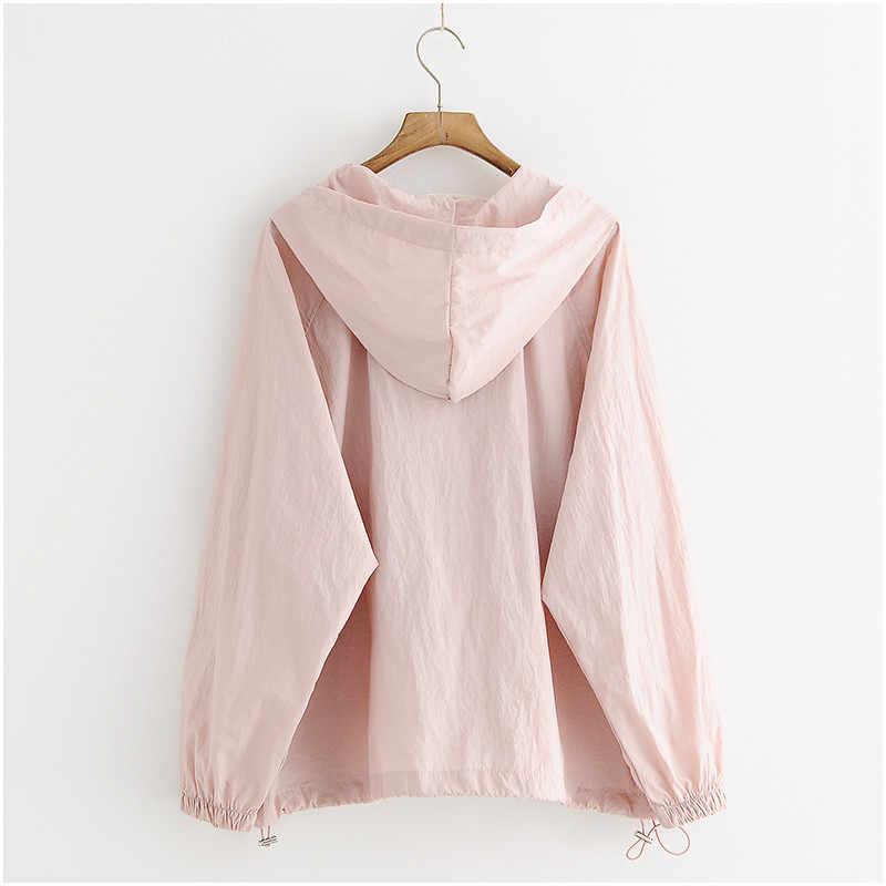 599a49477e35 ... Thin Summer Jacket Sunscreen Coat Women Clothes Female Big size Korean  Student Women Top Hooded Harajuku