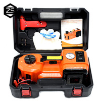 12V DC 5.0T(11023lb) Electric Hydraulic Floor Jack, Tire Inflator Pump and LED Flashlight 3 in 1 Set With Safe Hammer Car Jacks