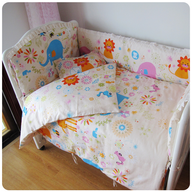 Promotion! 9PCS whole set cotton baby crib bedding baby quilt bed by bed around Top quality ,120*60/120*70cm цена