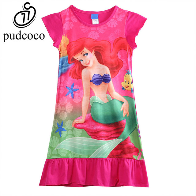 64324a79307e7 Pudcoco Princess Girls Kids Little Mermaid Ariel Dress Pajama Dress  Nightwear Girls Clothing Set Princess Costume 6-16 Years