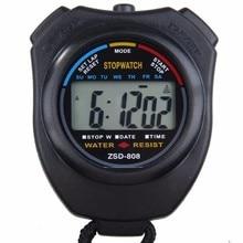 Классический водонепроницаемый цифровой профессиональный ручной ЖК-дисплей ручной спортивный секундомер таймер секундомер со струной