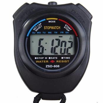 Klasyczny wodoodporny cyfrowy profesjonalny ręczny LCD ręczny sportowy stoper zegarek ze stoperem ze sznurkiem tanie i dobre opinie Inpelanyu C0841 Wielofunkcyjny Mini Black Stopwatch Timer 8 5x6 5x2cm