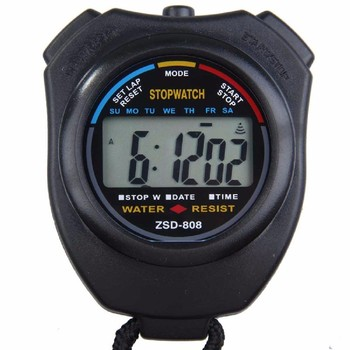 Klasyczny wodoodporny cyfrowy profesjonalny ręczny LCD ręczny sportowy stoper zegarek ze stoperem ze sznurkiem tanie i dobre opinie Inpelanyu CN (pochodzenie) C0841 Wielofunkcyjny Licznik Mini Black Stopwatch Timer 8 5x6 5x2cm