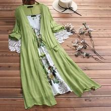 Spring Summer Women Long Linen Dress Plus Size Two Pieces O-Neck Maxi Dresses Loose Bohemian Dresses For Women 2019