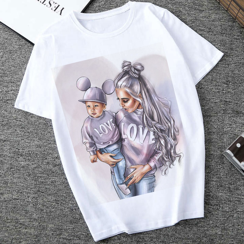 Women Clothes 2019 Summer Vogue Print Love Super Mom Tshirt Harajuku Kawaii Casual Comfortable Maternal Eternal Female Tops