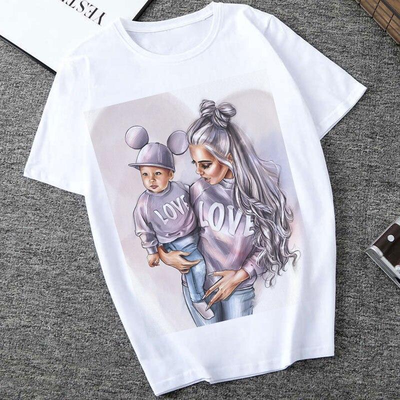 Women Clothes 2019 Summer Vogue Print Love Super Mom Tshirt Harajuku Kawaii Casual Comfortable Maternal Eternal Female Tops