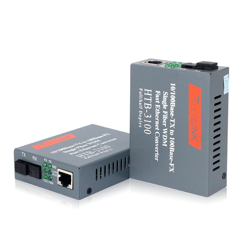 1 Pair HTB-3100AB 20KM AB 10/100Mbps Fiber Optical Media Converter Single Mode Single Fiber SC Port A 1310nm-TX, B 1550nm-TX